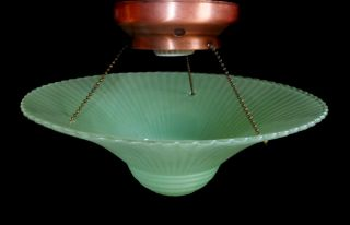 Vintage C1940s Deco Green Glass Bead Chain Ceiling Light Fixture Copper Fitter photo