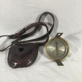 Antique W.  & L.  E.  Gurley Surveyors Compass Troy Ny Brass Leather Case photo
