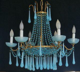 Vintage Italian Blue Opaline Beaded Chandelier Macaroni Basket Empire 6 Lights photo