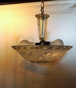 Vintage 40s 50s Ceiling Light Lamp Fixture Glass Chandelier photo