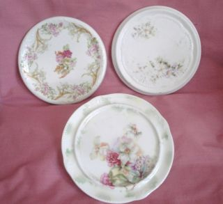 3 Antique Porcelain Trivets Embossed Round Hot Plate Hand Painted Flowers photo