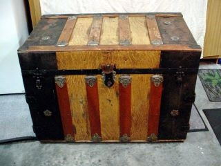 Antique 1800 ' S Flat Top Steamer Immigrant Trunk,  Covered Tray & Key All photo