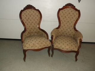 Walnut Victorian Parlor Chairs Lady And Gents Circa 1875 photo
