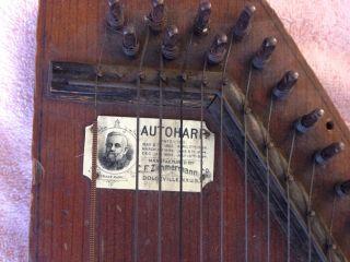 Antique 19th Century Zimmerman Autoharp Pat.  1882 Model No.  1 String 3 Bar photo