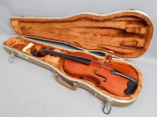 Estate Found Antique 19c Nicolaus Amatus Violin In Fitted Case photo