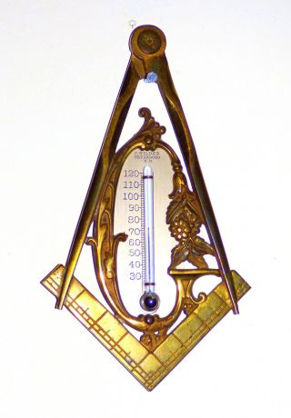 Masonic Thermometer 1860 - 80 By Charles Wilder Of Peterboro Nh Very Scarce photo