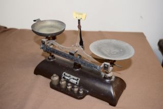 Antique Henry Troemner Cast Iron Apothecary Scales With Weights photo