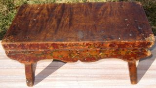 Country,  Primative,  19th Century Splay Legged Tiger Maple Foot Stool,  Orig Paint photo