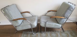 Vintage Kem Weber Lloyd Mfg Art Deco Tubular Chrome Lounge Arm Chairs photo