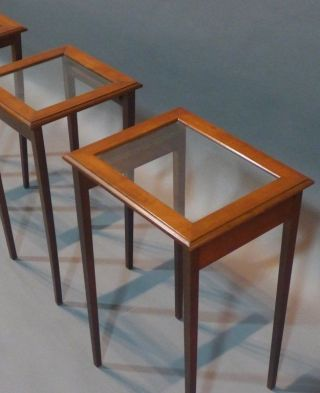 Mid Century Modern Glass Top Nesting Tables Side End Coffee Table Stand Pedestal photo