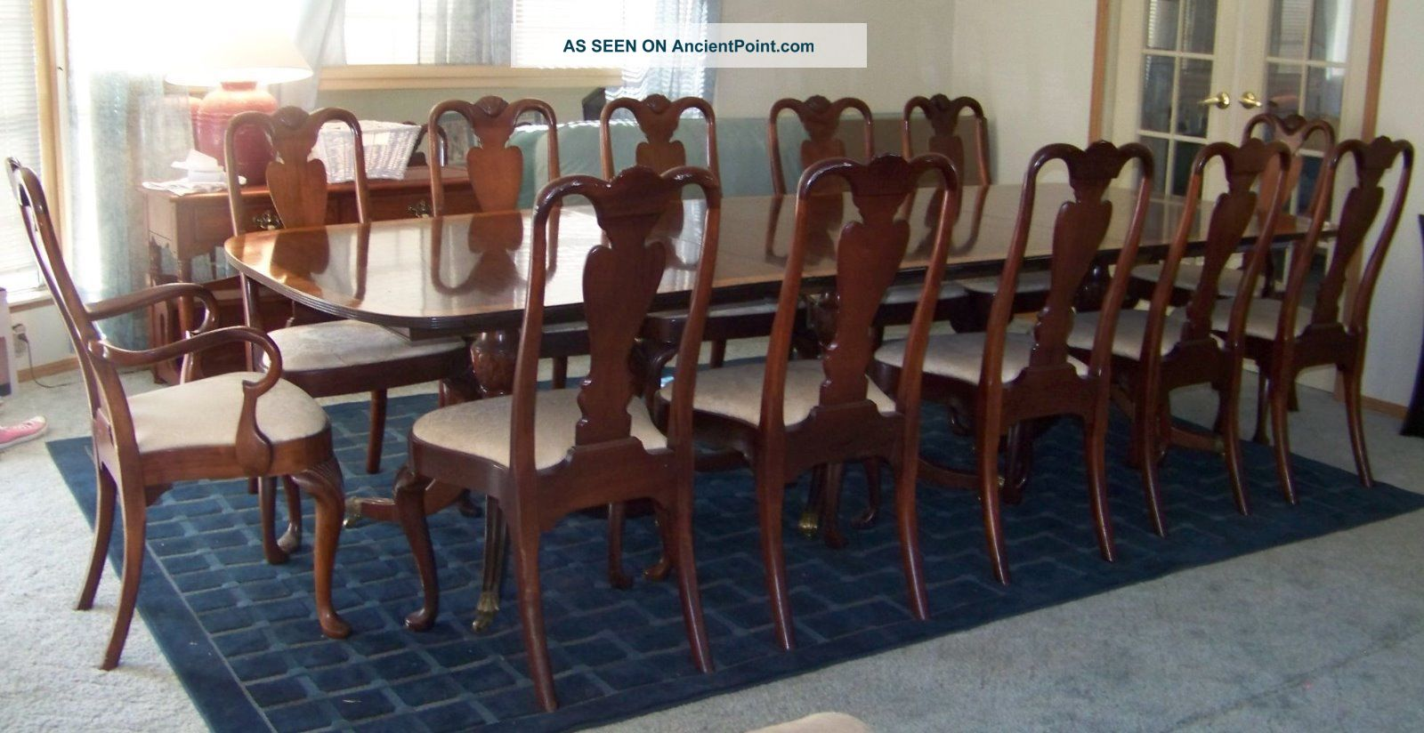 Antique Mahogany 3 Pedestal Dining Room Table And 12 Chairs Post 1950