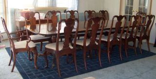 Antique Mahogany 3 Pedestal Dining Room Table And 12 Chairs photo