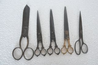 5 Pc Old Iron Unique Shape S & Lion Brand Handcrafted Scissors / Shears photo