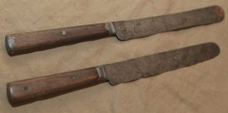 2 Antique Cutlery Knives Primitive Carved Wood Handles Country Kitchenware photo
