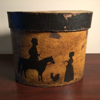 Handcrafted Primitive Grungy Painted Mustard Band Box Silhouette Horse Chicken photo