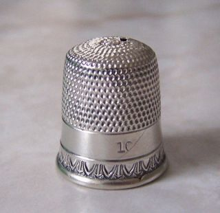 Antique Sterling Silver Simons Sz.  10 Short Thimble Has 1 Hole photo