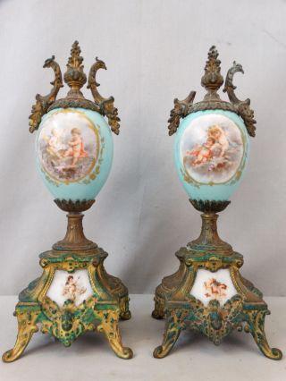 (2) 19thc Antique Victorian Cherub Winged Putti Garniture Porcelain Mantel Urn photo