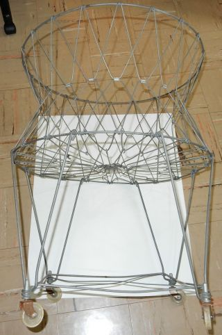 Antique Folding Collapsible Wire Laundry Basket Hamper On Wheels photo