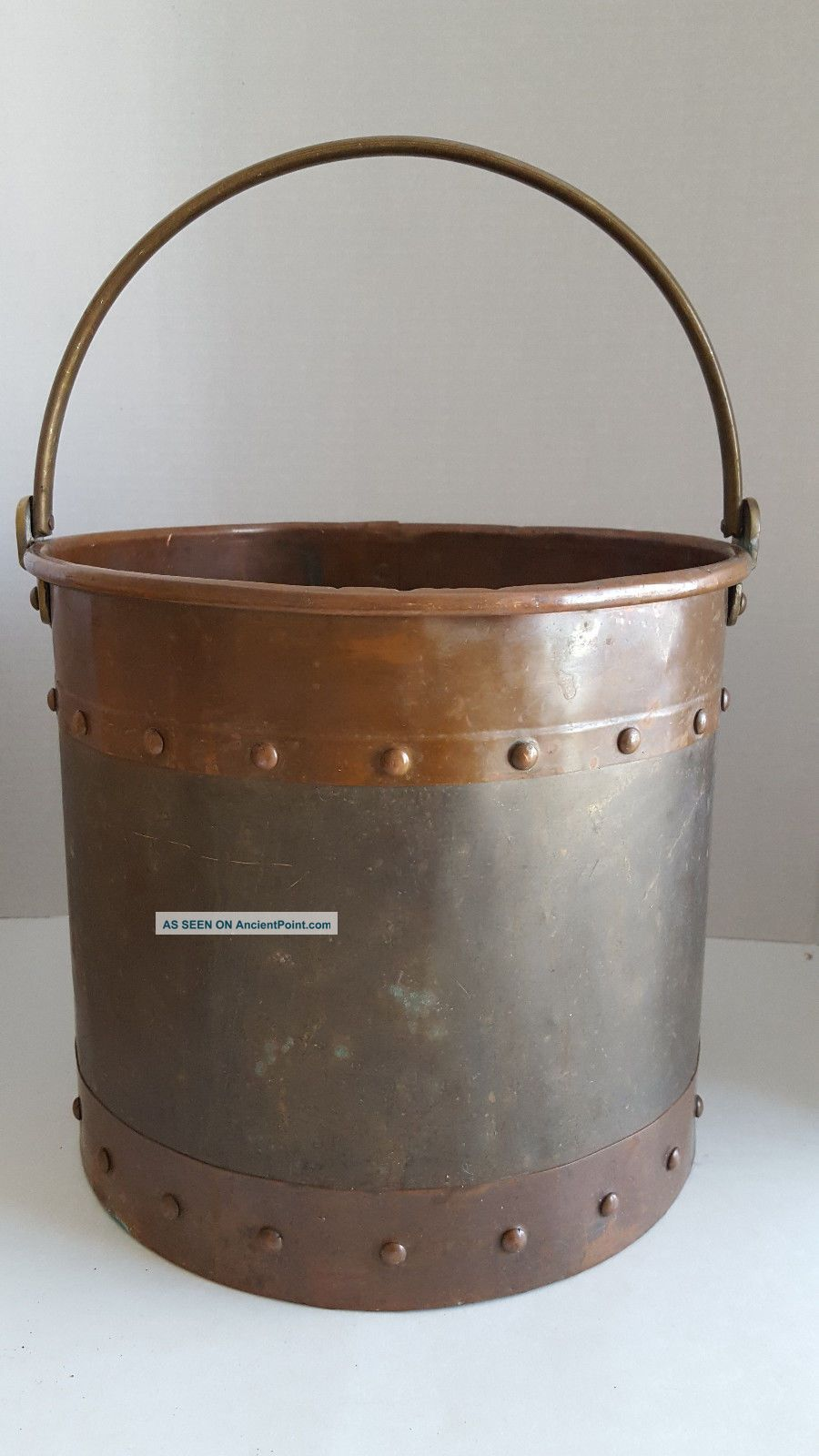 Vintage Heavy Brass & Copper Ash Coal Pail With Brass Handle Hearth Ware photo