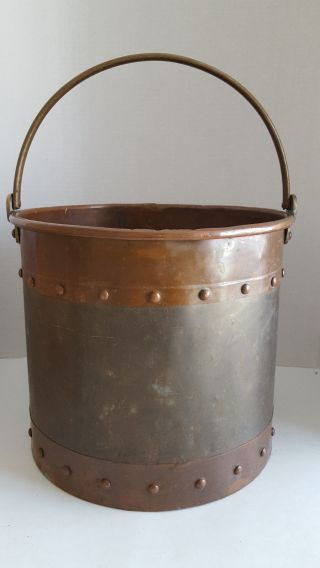 Vintage Heavy Brass & Copper Ash Coal Pail With Brass Handle photo