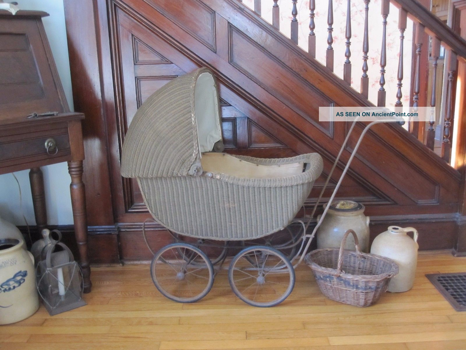 Antique Wood & Wicker Baby Buggy Doll Carriage Kumfy - Kab Co La Porte,  In Baby Carriages & Buggies photo