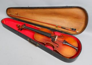 Estate Found Vintage Early 20c Cased Violin & Bow For Restoration photo
