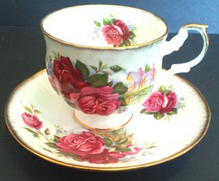 Romantic Queens Rosina Cottage And Roses Teacup & Saucer English Fine Bone China photo