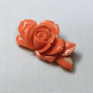 B556: Japanese Brooch For Women Of Real Sea Coral With Flower Design. photo