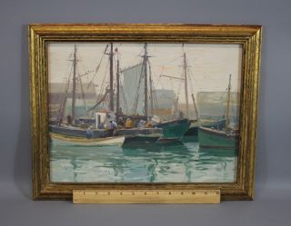 Antique William S Robinson Gloucester Boat Harbor Oil Painting,  Old Lyme Artist photo