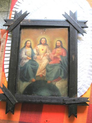 Antique Retablo On Tin With The Holy Trinity With Vintage Wood Frame photo