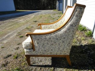Vintage Mid Century Upholstered Arm Chair Tuffed Floral Greyhound photo