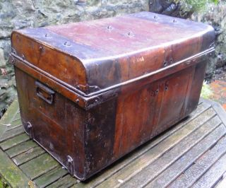 Antique Tin Steamer Trunk,  Travel Storage Luggage Toleware Chest Coffee Table photo