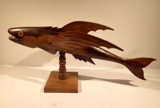 Pitcairn Island Carved Wooden Flying Fish By Len Brown Antique Vintage Folk Art photo