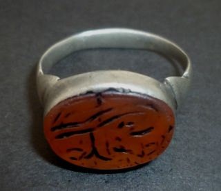 Persian Silver Seal / Stamp Ring - Engraved Corneol Gem Circa 1300 Ad - 2211 - photo