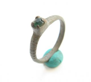 Ancient Medieval Bronze Finger Ring With Colored Green Stone Inlay (mcr) photo