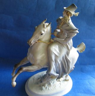 Hutschenreuther Large Porcelain Figure By Scheurich 1935 Lady Horse Riding photo