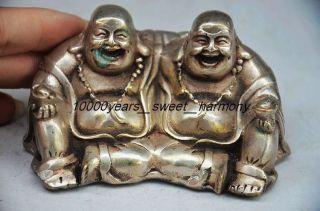 Unusual Chinese Silver Copper Maitreya Buddha Statue photo