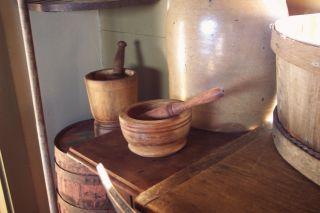 Primitive Old Wood /treen Mortar & Pestle Patina photo
