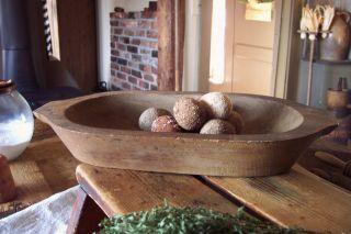 Primitive Vintage Wood Trencher Dough Brown Patina photo