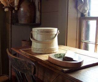 Primitive Old Firkin Sugar Bucket Painted Buttermilk photo