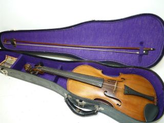 Antique/vintage Full Size 4/4 Scale Unmarked Violin W/ Old Bow & Case photo