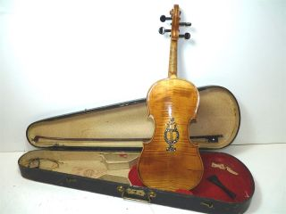 Antique Full Size 4/4 Scale Pearl Inlay Unmarked Violin W/ Old Coffin Case & Bow photo