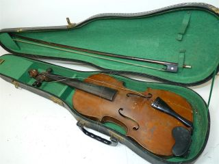 Antique Full Size 4/4 Scale Repaired 1925 German Strad Violin W/ Old Case & Bow photo
