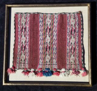 19th C.  Bolivian Chuspa Coca Bag Hand Woven Energy Symbols Weaving Textile photo