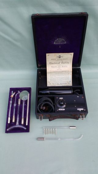 Antique Vintage Trojan Violet Ray 6 Glass Wand Electric Shock Therapy Machine photo