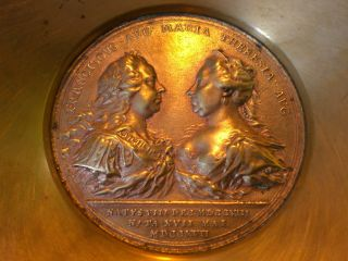 Antique Brass Franciscvs Avg.  Maria Theresa Agv Coin Medallion Dish 5.  7in Dia photo