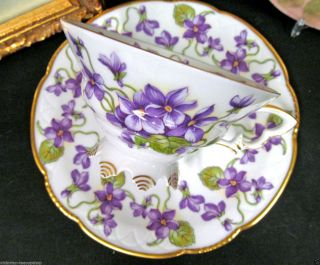 German Mitterteich Tea Cup And Saucer Footed Violets & Gold Pattern Teacup photo