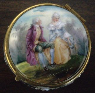 Fine Victorian Hand Painted Courting Couple Hinged Enamel Snuff Patch Box France photo