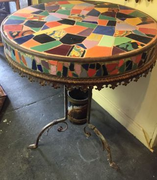 1930 ' S Auto Rim And Iron Base Table California Tiles Catalina,  Taylor Malibu photo