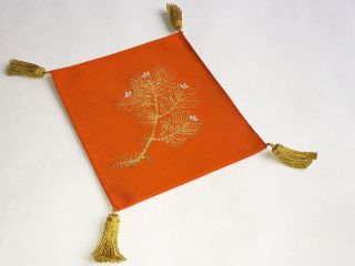 Vintage Orange Pine Nishijin Silk Fukusa Ceremonial Japanese Presentation Cloth photo